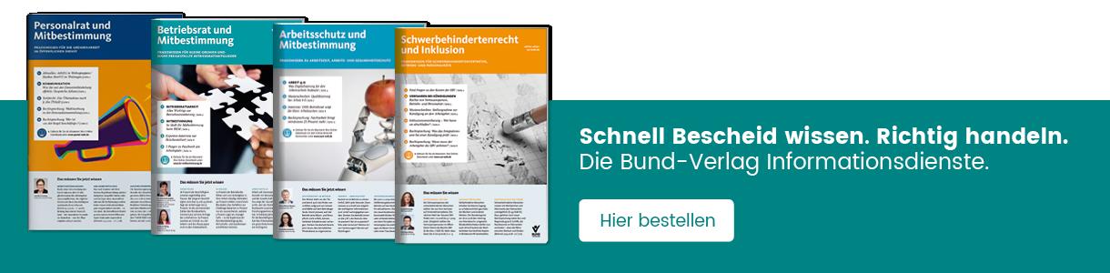 Cover-Abbildungen und Hier bestellen Button der Bund-Verlag Infomationsdienste