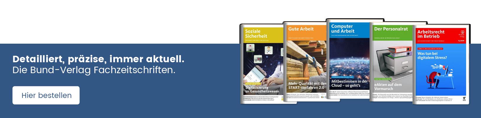Cover-Abbildungen und Hier bestellen Button der Bund-Verlag Fachzeitschriften